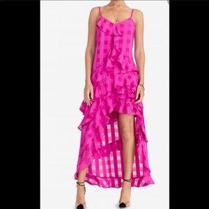 RACHEL • Pink Jasmine Checkered High-Low Dress